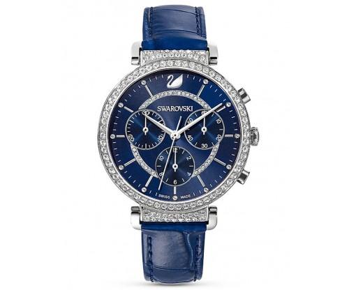 SWAROVSKI Passage Chrono Watch, Leather strap, Blue, Stainless Steel