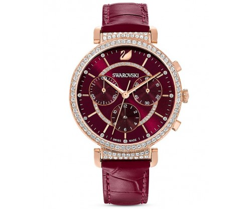 SWAROVSKI Passage Chrono Watch, Leather strap, Red, Rose-gold tone PVD