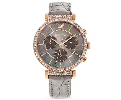 SWAROVSKI Passage Chrono Watch, Leather strap, Gray, Rose-gold tone PVD
