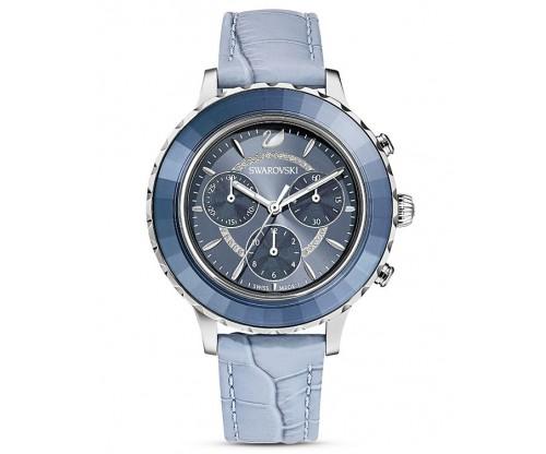 SWAROVSKI Octea Lux Chrono Watch, Leather strap, Blue, Stainless Steel