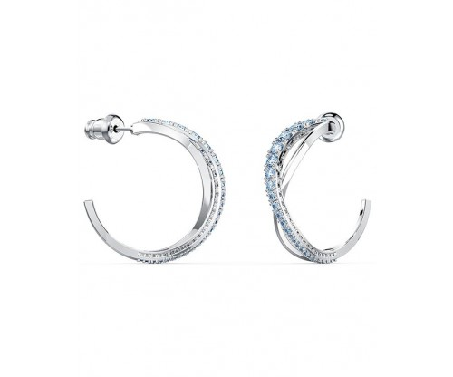 SWAROVSKI Twist Hoop Pierced Earrings, Blue, Rhodium plated