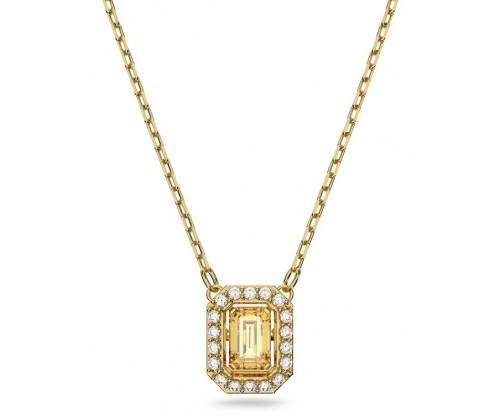 SWAROVSKI Millenia necklace, Square Swarovski Zirconia, Yellow, Gold-tone plated