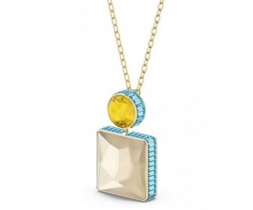 SWAROVSKI Orbita necklace, Square cut crystal, White, Gold-tone plated
