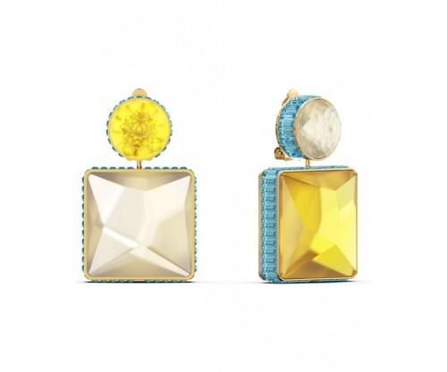 SWAROVSKI Orbita earrings, Asymmetrical, Square cut crystal, Gold-tone plated