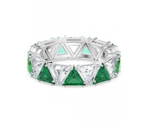 SWAROVSKI Millenia cocktail ring, Triangle cut crystals, Green, Rhodium plated, Size 55