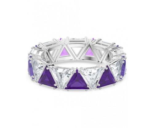 SWAROVSKI Millenia cocktail ring, Triangle cut crystals, Purple, Rhodium plated, Size 55