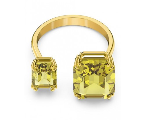 SWAROVSKI Millenia cocktail ring, Square cut crystals, Yellow, Gold-tone plated, Size 55