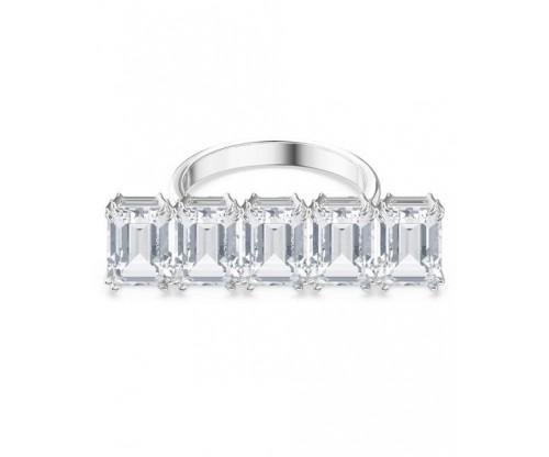 SWAROVSKI Millenia cocktail ring, White, Rhodium plated, Size 55