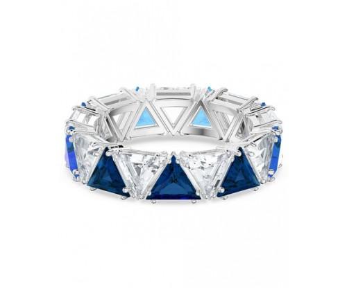 SWAROVSKI Millenia cocktail ring, Triangle cut crystals, Blue, Rhodium plated, Size 52