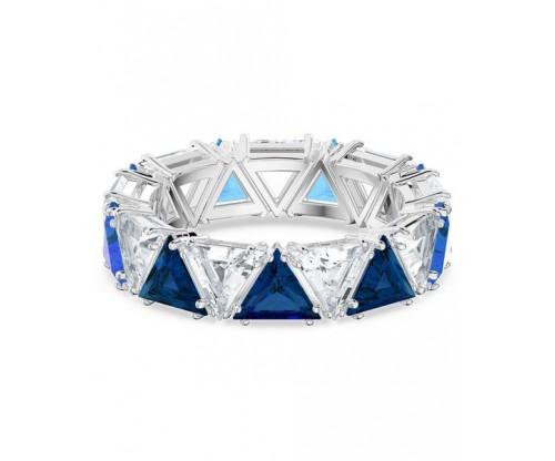 SWAROVSKI Millenia cocktail ring, Triangle cut crystals, Blue, Rhodium plated, Size 55