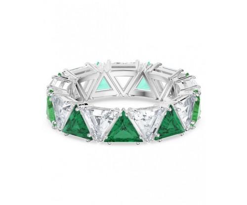 SWAROVSKI Millenia cocktail ring, Triangle cut crystals, Green, Rhodium plated, Size 58