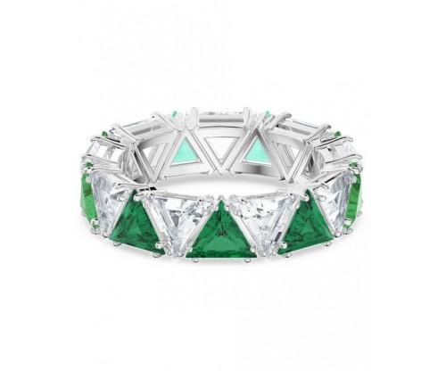 SWAROVSKI Millenia cocktail ring, Triangle cut crystals, Green, Rhodium plated, Size 52