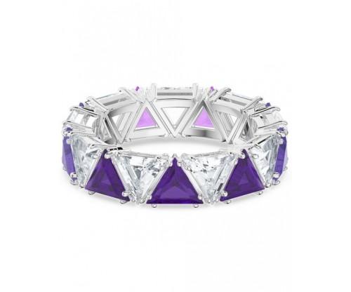 SWAROVSKI Millenia cocktail ring, Triangle cut crystals, Purple, Rhodium plated, Size 58