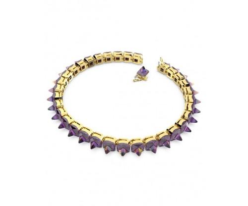 SWAROVSKI Chroma choker, Spike crystals, Purple, Gold-tone plated