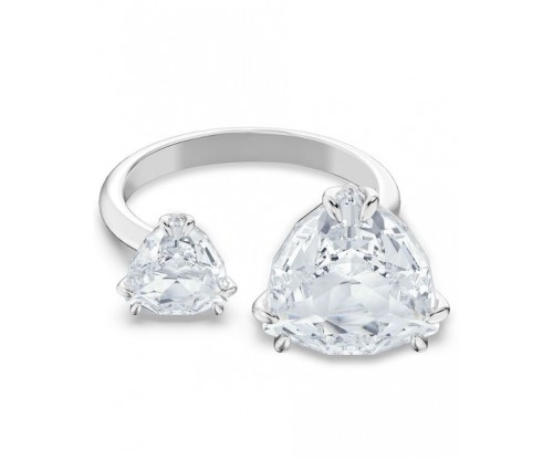 SWAROVSKI Millenia cocktail ring, Triangle cut crystals, White, Rhodium plated, Size 52