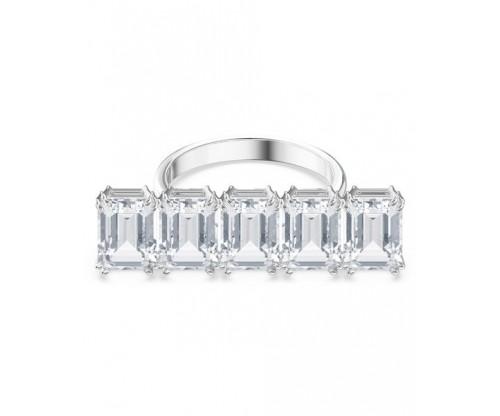 SWAROVSKI Millenia cocktail ring, White, Rhodium plated, Size 52