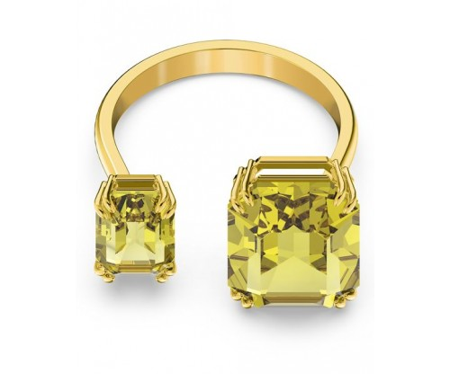 SWAROVSKI Millenia cocktail ring, Square cut crystals, Yellow, Gold-tone plated, Size 60