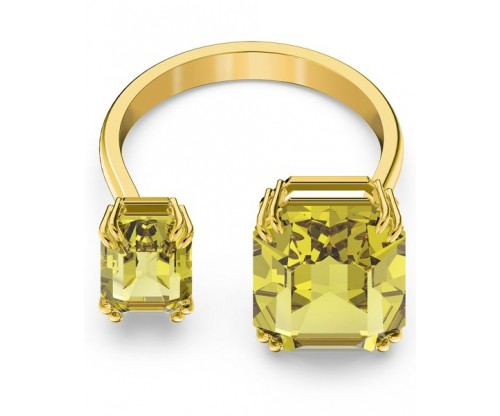 SWAROVSKI Millenia cocktail ring, Square cut crystals, Yellow, Gold-tone plated, Size 50