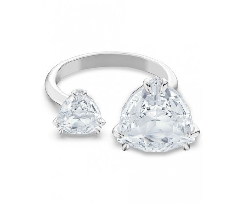 SWAROVSKI Millenia cocktail ring, Triangle cut crystals, White, Rhodium plated, Size 50