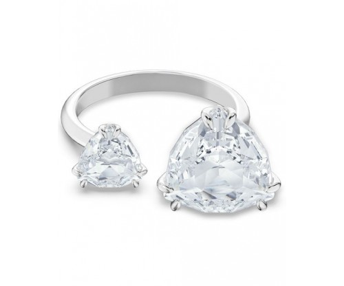 SWAROVSKI Millenia cocktail ring, Triangle cut crystals, White, Rhodium plated, Size 60