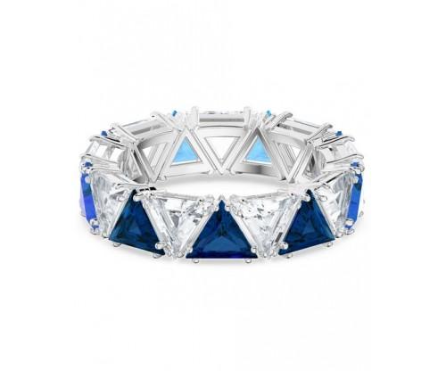 SWAROVSKI Millenia cocktail ring, Triangle cut crystals, Blue, Rhodium plated, Size 60
