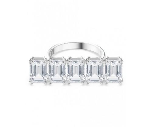 SWAROVSKI Millenia cocktail ring, White, Rhodium plated, Size 60