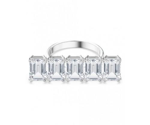 SWAROVSKI Millenia cocktail ring, White, Rhodium plated, Size 50