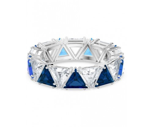SWAROVSKI Millenia cocktail ring, Triangle cut crystals, Blue, Rhodium plated, Size 50