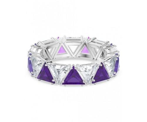 SWAROVSKI Millenia cocktail ring, Triangle cut crystals, Purple, Rhodium plated, Size 50