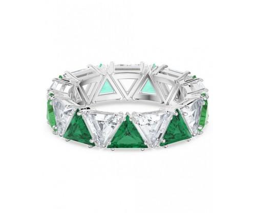 SWAROVSKI Millenia cocktail ring, Triangle cut crystals, Green, Rhodium plated, Size 50