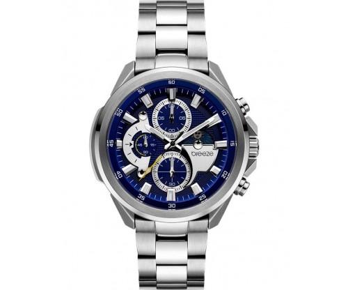 BREEZE Omnius Chronograph Silver Stainless Steel Bracelet