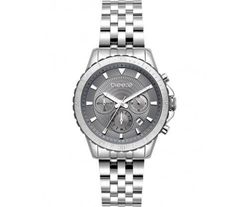 BREEZE Invernia Chronograph Silver Stainless Steel Bracelet