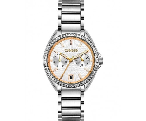BREEZE Royalisse Crystals Silver Stainless Steel Bracelet
