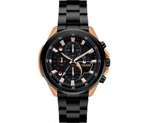 BREEZE Omnius Chronograph Black Stainless Steel Bracelet