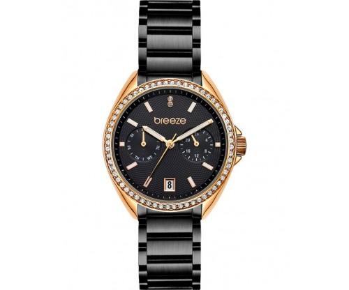 BREEZE Royalisse Crystals Black Stainless Steel Bracelet