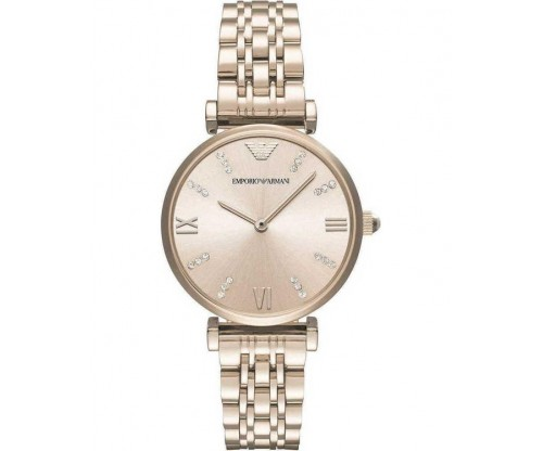 Emporio ARMANI Gianni T-Bar Crystals Rose Gold Stainless Steel Bracelet