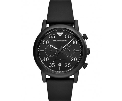 Emporio ARMANI Chronograph Black Leather Strap