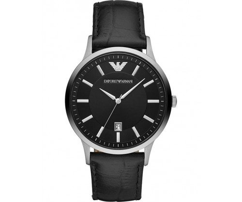 Emporio ARMANI Renato Black Leather Bracelet