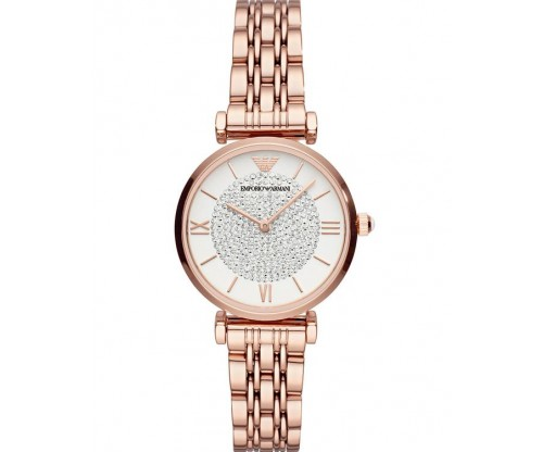Emporio ARMANI Dress T-Bar Crystals Rose Gold Stainless Steel Bracelet