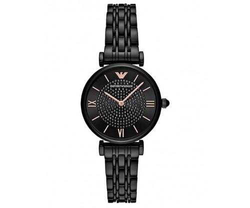 Emporio ARMANI Dress Crystals Black Stainless Steel Bracelet