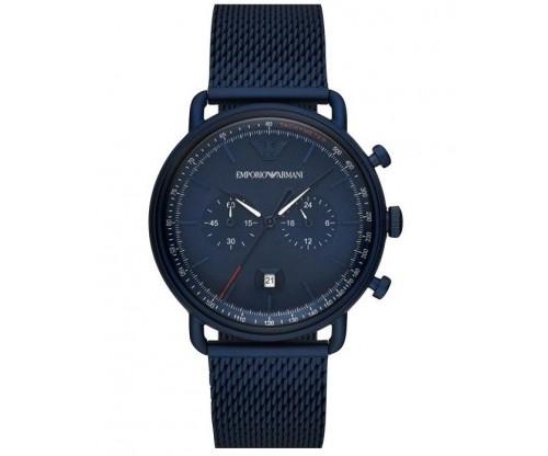 Emporio ARMANI Aviator.. Chronograph Blue Stainless Steel Bracelet