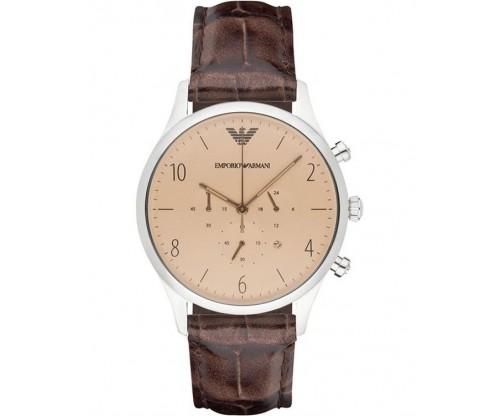 Emporio ARMANI Chrono Brown Leather Strap