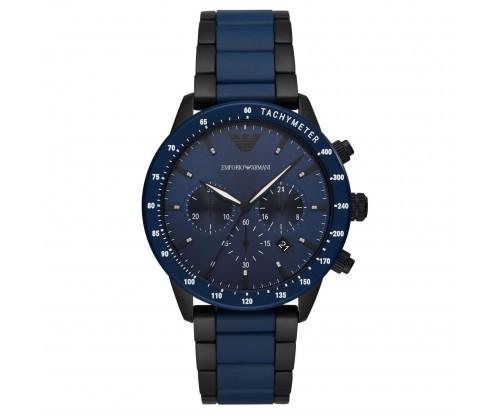Emporio ARMANI Mario.. Chronograph Blue Stainless Steel Bracelet