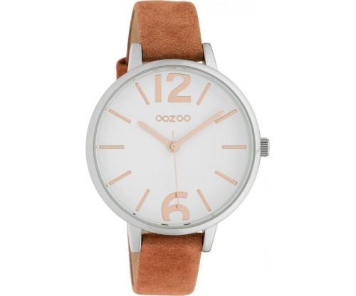 OOZOO Timepieces warm red velvert/whiteleather Strap