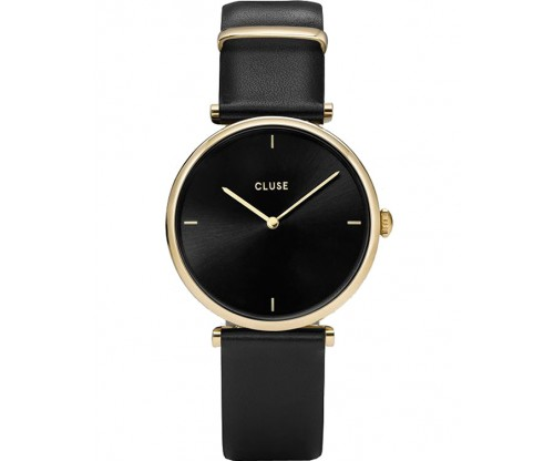 CLUSE Triomphe Black Leather Strap
