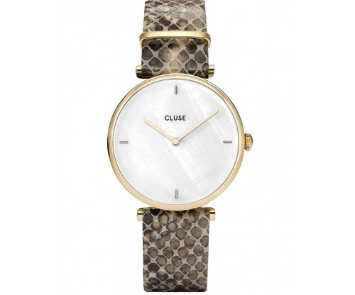 CLUSE Triomphe Gold Beige Leather Strap