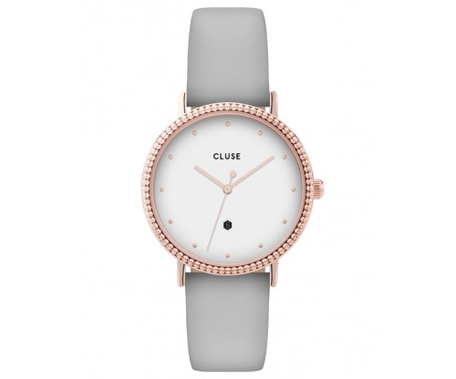 CLUSE Le Couronnement Rose Gold Grey Leather Strap