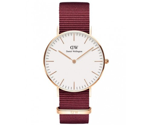 DANIEL WELLINGTON Roselyn Bordeaux Fabric Strap 36mm