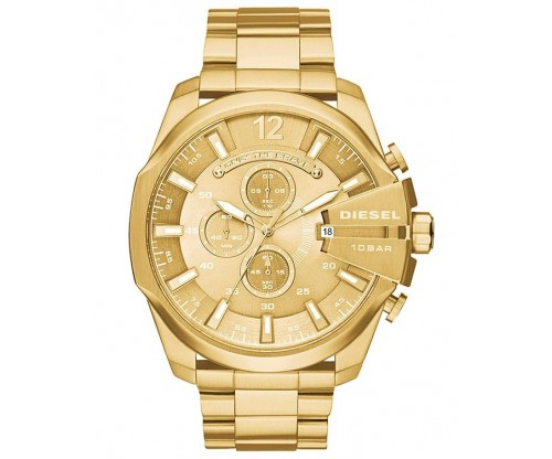 DIESEL Mega Chief, Chronograph, Gold Stainless Steel Bracelet