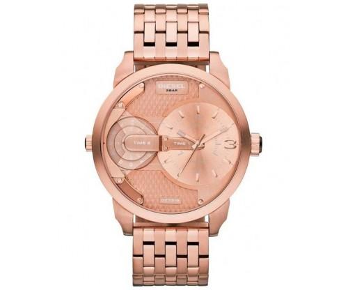 DIESEL Mini Daddy Dual Time Rose Gold Stainless Steel Bracelet